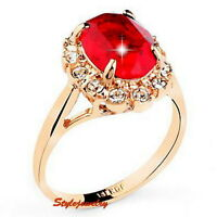 Rose Gold Plated Birthstone Red Ruby Women Ring Made With Swarovski Crystal R160