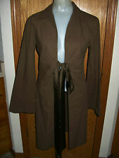 DEED-L/S-COCOA-APPROX.KNEE LENGTH-JACKET/TOP-SILKY TIE FRONT-GATHERED DETAIL-S