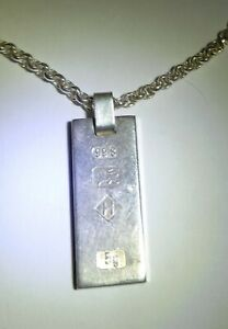 Vintage Solid Sterling 99.8 Silver 5g   Pendant With 42 cm 925  Silver Chain