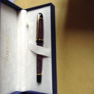 Waterman  Phileas Rollerball Pen  Grey Marble & Gold  New In Box Very Rare
