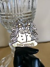 "2"" Vintage Signed MJ Silver & Gold Tone Snowmen Brooch Pin and/or Pendant"