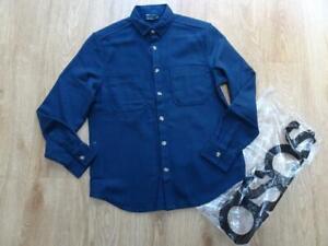 ASOS mens navy blue wool mix winter over shirt MEDIUM NEW BNWOT
