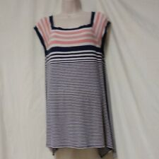 Max Edition Tunic Top Size XL Misses Striped Assymetric Hemline