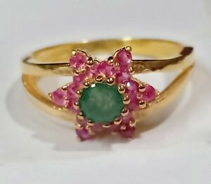 10k Solid Yellow Gold Natural Emerald & Ruby Gemstone Gold Plated Cocktail Rings