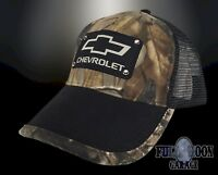 NEW Chevrolet Chevy Riveted Realtree Camo Mens Snapback Trucker Cap Hat