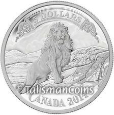 Canada 2014 Canadian Bank Note Art Lion on Rocky Mountain Side $5 Silver Proof