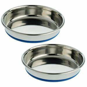 (2 Pack) OurPets Durapet NO SKID Stainless Steel Food and Water CAT Bowl 8 ounce