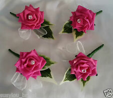 Artificial Flowers.Four X Various Colour Wedding Rose Buttonholes Diamantes