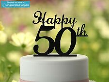 """Happy 50th"" - Black - 50th Birthday Cake Topper - Made by OriginalCakeToppers"