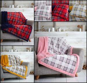 Teddy Check Fleece Sherpa Sofa Bed Throw Blanke Faux Fur Throw Or Cushion Cover