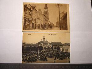1917 AK Mitau: Marktplatz / Katholische Kirchstraße  Feldpost St. Wedel Bat. 678
