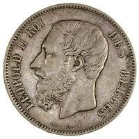 Raw 1869 Belgium 5 Francs Uncertified Ungraded 5F Silver Coin