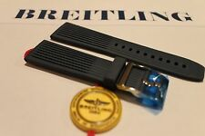 100% Genuine New OEM Breitling Blue Ribbed Diver Pro Tang Buckle Strap 24-20mm