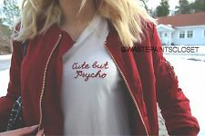 """New! Brandy Melville White """"Cute But Psycho"""" Embroidered Fitted Margie Shirt Top"""