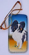 PAPILLON TOY BREED DOG NEOPRENE GLASSES CASE POUCH  SANDRA COEN ARTIST PRINT