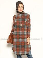 NWT Long Dress Modest Wear Islamic Women Ladies Tunic Brown Cream size L 8-10 .