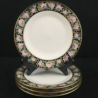 Set of 4 VTG Bread Plates Noritake Rima Multi Floral Black Gold Rim 6906 Japan