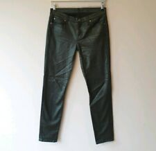 7 For All Mankind Womens Size 26 Green Metallic The Skinny Jeans Smart Casual