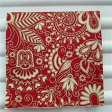 Decoupage Paper Napkins Elegant Wedding Fabric Pattern Red Golden Flowers Hearts