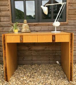 GERARD LEWIS DESIGNS Light Oak & Walnut Bur Inlaid Executive Desk Console Table