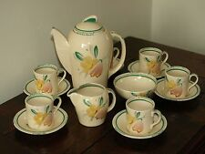 Susie Cooper coffee set Kestrel E348 1931 - 35 Crown works totally hand painted