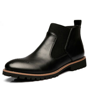 Men Casual Ankle Boots Fashion Pu Leather Pointy Toe Business Party Formal Shoes