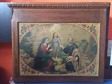 Quadro anni 20 oliografia stampa Arte Sacra Famiglia Gesù Madonna