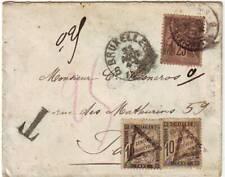 25 c SAGE UTILISE à BRUXELLES BELGIQUE et lettre TAXEE en FRANCE , RARE 1889
