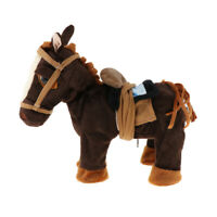 Electric Walking Horse Soft Plush Toy with Movement Sounds Kids Gift (Brown)