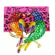 Pin Charm Free Gift Bag Betsey Johnson Rainbow Parrots Gold Brooch