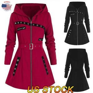 Women Gothic Hooded Jacket Long Sleeve Trench Coat Overcoat Punk Parka Outwear
