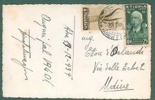 Storia postale Colonie.ETIOPIA + AFRICA ORIENTALE ITALIANA.Cart. del 22.12. 1939
