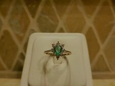Estate 10k yellow gold oval natural green emerald diamond halo ring FD sparkly