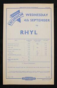 British Railways London Midland Rhyl seaside excursion 1963 handbill