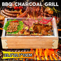 Outdoor Wooden Small BBQ Grill Barbecue Portable Charcoal Travel Picnic Stov