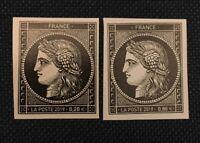 Timbres cérès170 ans premier timbre France 20c noir réédition la paire 0.88+0.20
