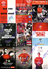 WALES v ARGENTINA RUGBY PROGRAMMES 1976 - 2001 *****CHEAPEST ON EBAY*****