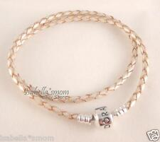 "Authentic PANDORA Off-White CHAMPAGNE Leather/Silver DOUBLE Bracelet 13.8""/35cm"