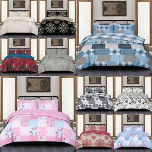 3 Piece Floral Bedding Set Rich Cotton Duvet Quilt Cover Single Double King Size