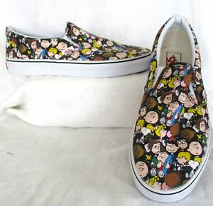 Vans Peanuts Charlie Brown & The Gang Slip On Sneaker Shoes Men SZ 9 Women 10.5