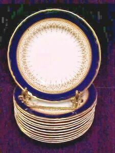 """(SET OF 6) Royal Worcester REGENCY BLUE (WHITE) 10 7/8"""" Dinner Plates ~EXCELLENT"""