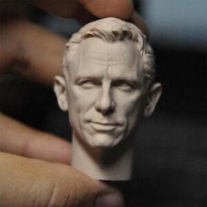 """1/6 Scale Smile James Bond Daniel Craig Head Sculpt Unpainted Fit 12"""" Figure"""