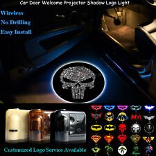2x Punisher Skull Logo Wireless Car Laser Projector Puddle Shadow Cree LED Light