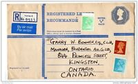 GB QEII 1974 Registered Airmail Cover from UK to Canada X831