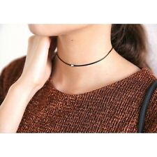Thin Fashion Black Leather Rope Jewelry Choker Necklace Silver Metal Beads