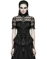Punk Rave Womens Blouse Top Black Gothic Lace Steampunk Victorian VTG Regency