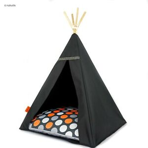Cat tent in glamour style - Orange Dots, cat bed with pillow*quality cat teepee