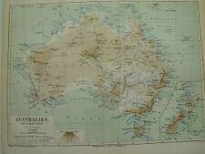 2x Landkarten Australien u. australische Inseln, Lithographie 1874