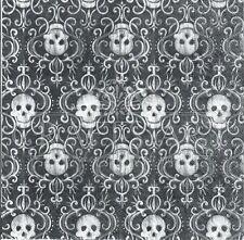 4 Tovaglioli di carta singolo DECOUPAGE. Nero e Bianco, Teschi, sfondo -498