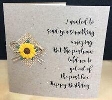 Happy birthday Rustic Sunflower Handmade Card